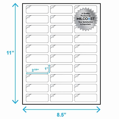 "Address Labels 30 Per Page Best Of Milcoast Glossy Address Labels 30 Per Sheet 1"" X 2 5 8"