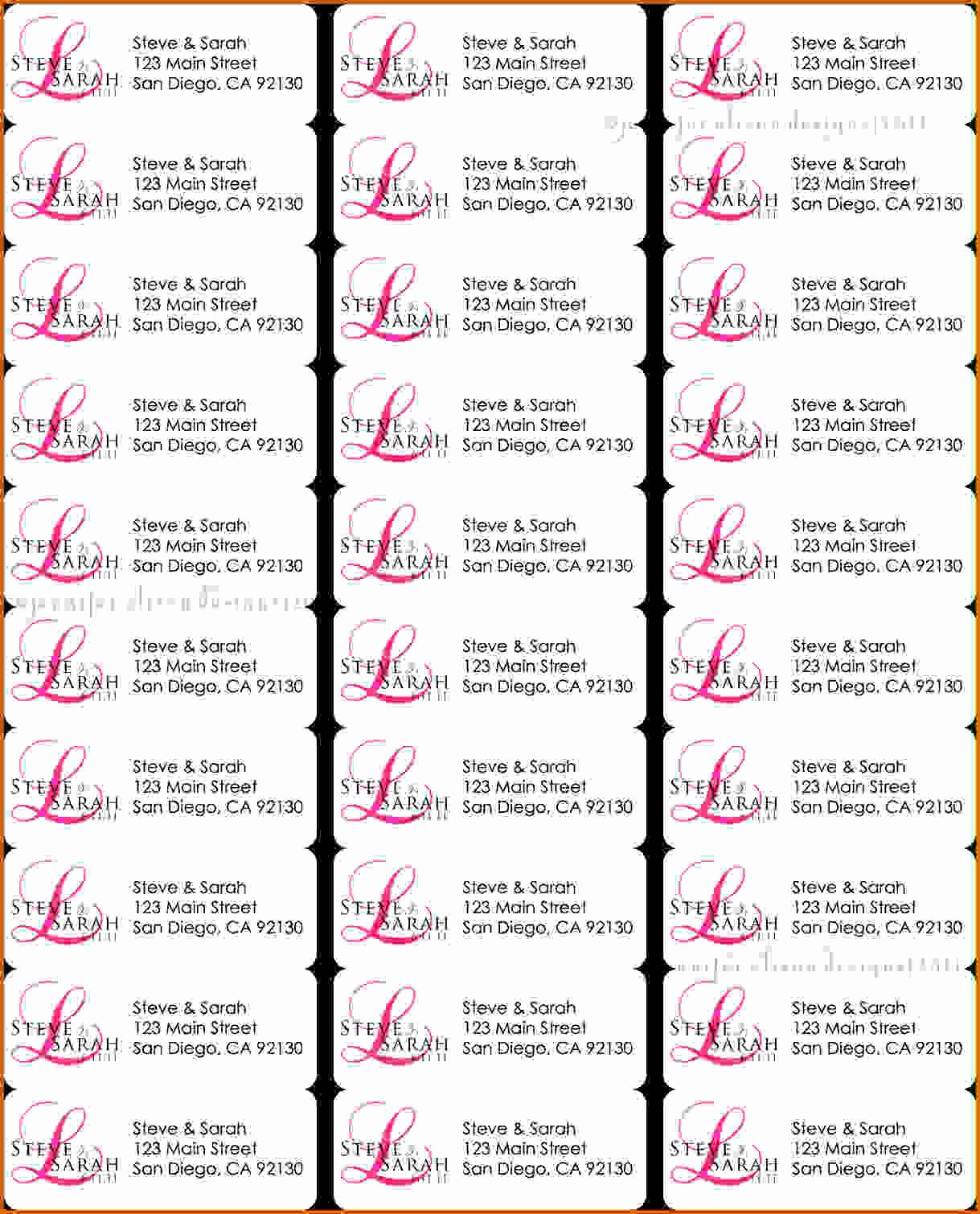 Address Labels 30 Per Page Luxury 4 Template for Address Labels 30 Per Sheet