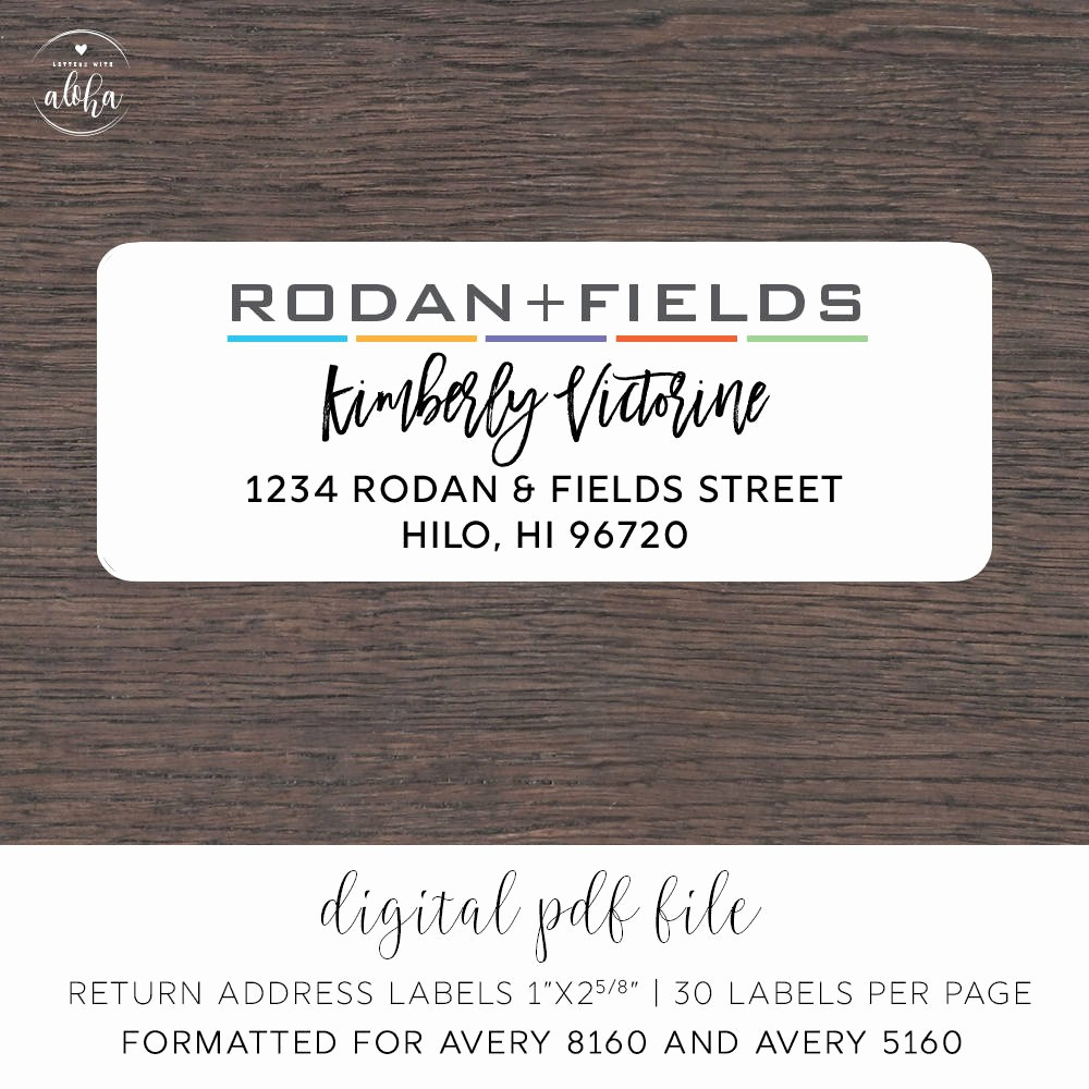 Address Labels 30 Per Page New Rodan and Fields Personalized Return Address Labels Digital
