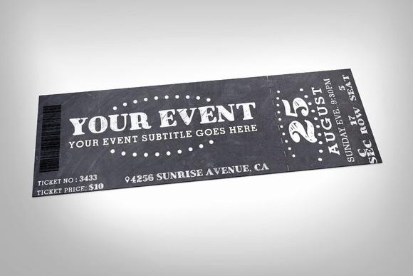 Admission Ticket Invitation Template Free Awesome Chalkboard event Ticket Invitation Templates On Creative