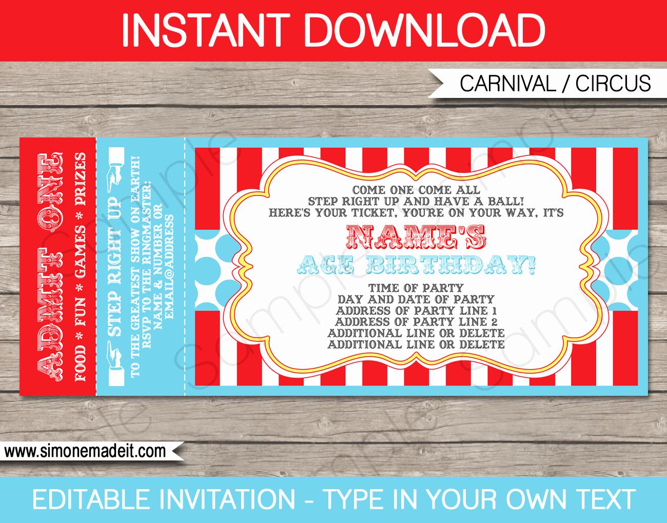 Admission Ticket Invitation Template Free Awesome Circus Ticket Invitation Template