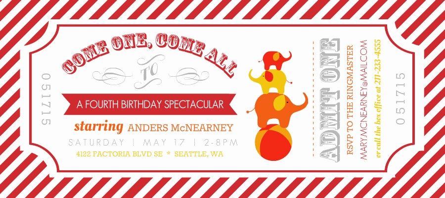 Admission Ticket Invitation Template Free Awesome Kids Birthday Invitations Carnival Admission Ticket