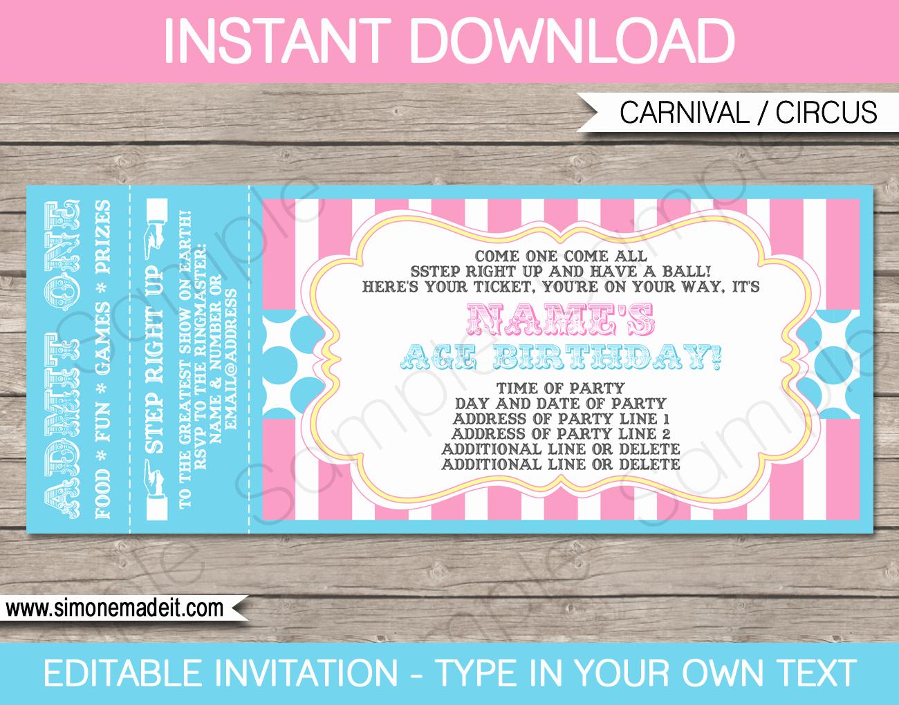Admission Ticket Invitation Template Free Fresh Carnival Party Ticket Invitations Template