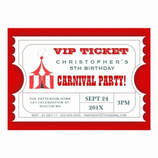 Admission Ticket Invitation Template Free Fresh Circus Ticket Style Invitation Template