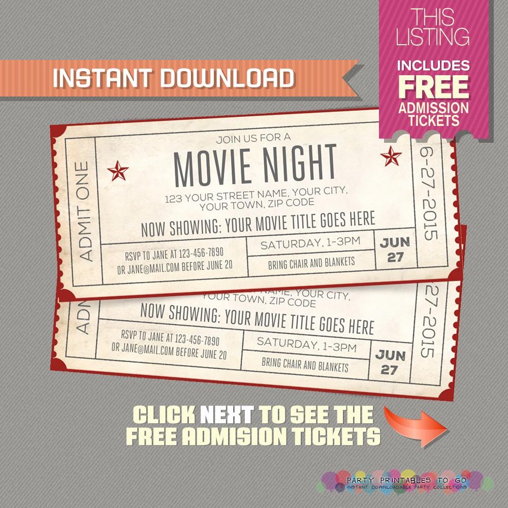 Admission Ticket Invitation Template Free Fresh Movie Night Invitation with Free Admission Tickets Movie
