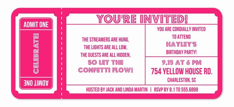 Admission Ticket Invitation Template Free Fresh Superstar Ticket Birthday Invitations by Invitation