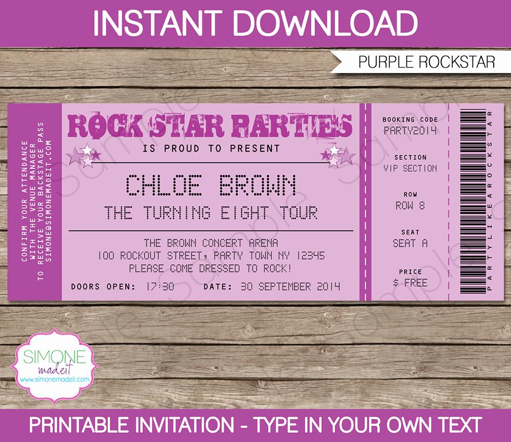 Admission Ticket Invitation Template Free Lovely Rock Star Party Ticket Invitations Template