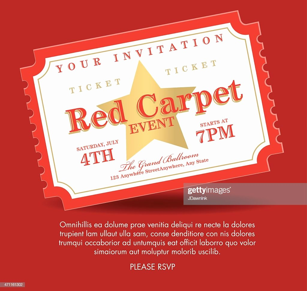Admission Ticket Invitation Template Free Lovely Vintage Style Gold Red Carpet event Ticket Invitation
