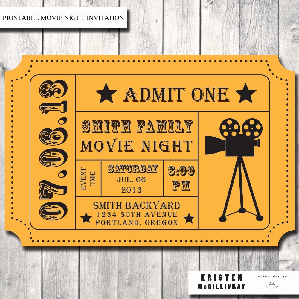 Admission Ticket Invitation Template Free Luxury Movie Ticket Template