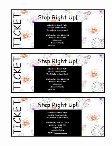 Admission Ticket Invitation Template Free New Ticket Templates