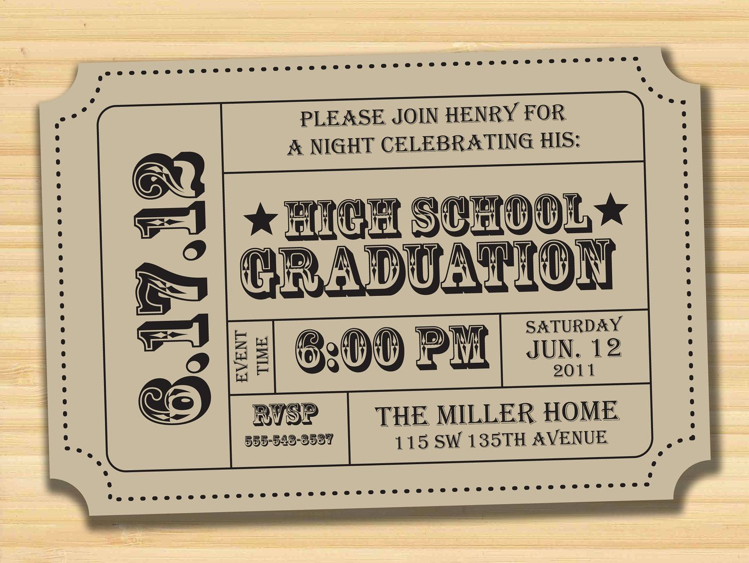 Admission Ticket Invitation Template Free Unique Graduation Party Printable Invitation Admission Ticket