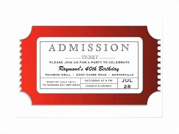 Admit One Movie Ticket Template Beautiful Sample Raffle Ticket Template Free Printing Tickets Create