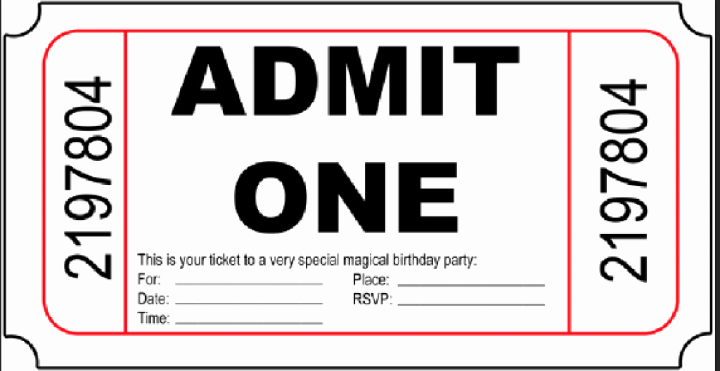 Admit One Movie Ticket Template Best Of 10 Free Birthday Printables