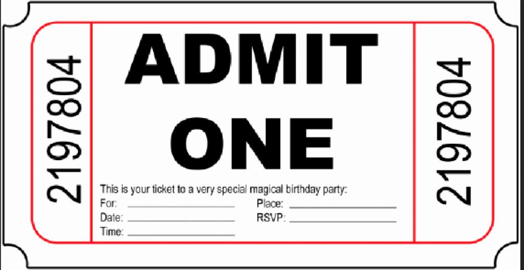 Admit One Movie Ticket Template Best Of 10 Free Birthday Printables