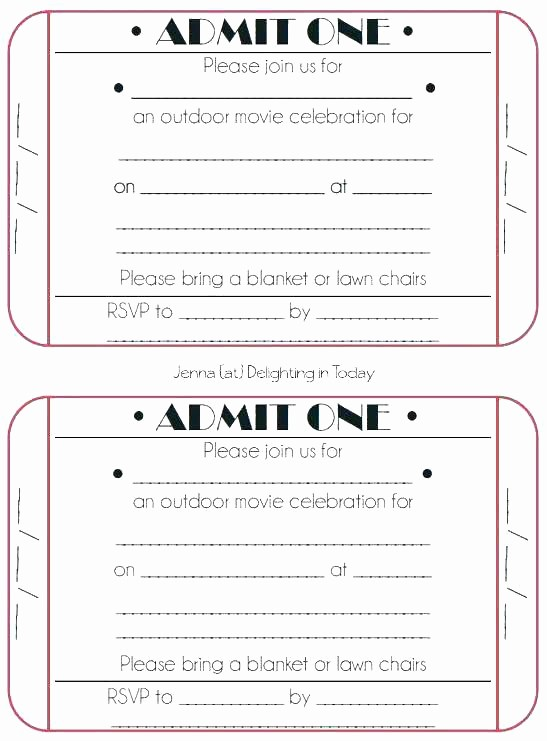 Admit One Movie Ticket Template Elegant Admit E Party Invitations Free Birthday Invitation