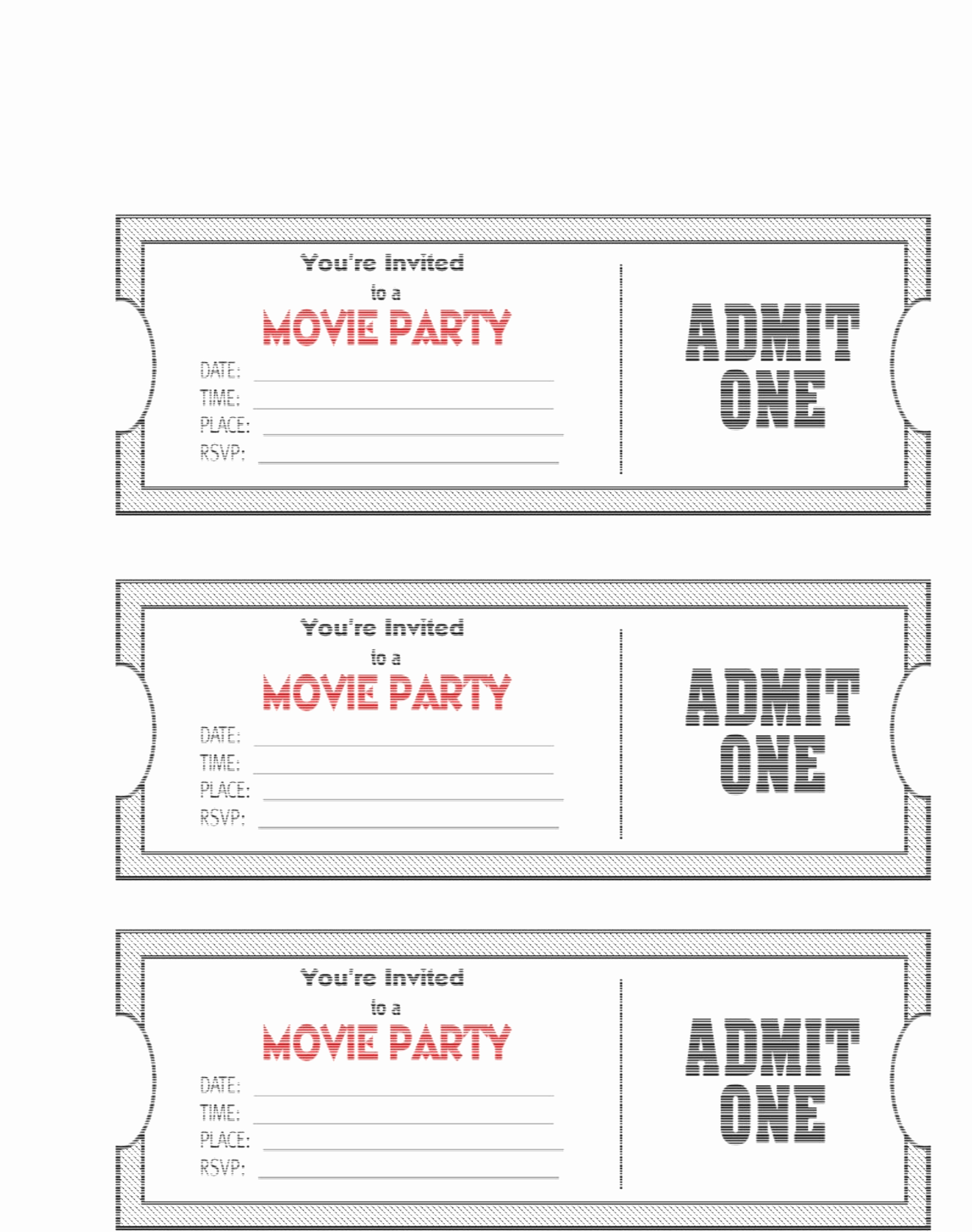 Admit One Movie Ticket Template New Free Printable Movie Ticket Invitations