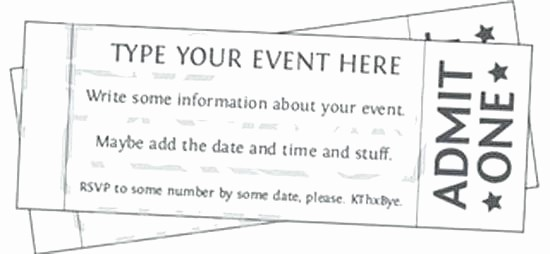 Admit One Movie Ticket Template Unique Free Printable event Ticket Templates Admit E Invitation