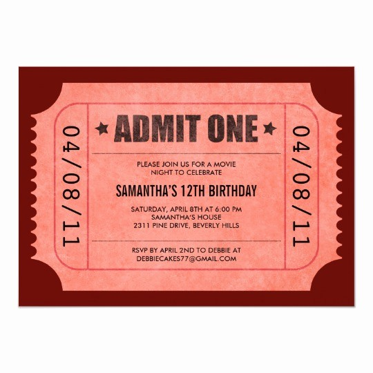 Admit One Movie Ticket Template Unique Red Admit E Ticket Invitations