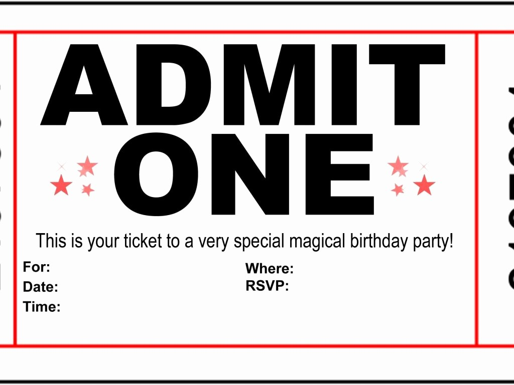 Admit One Ticket Template Printable Beautiful Admit E Ticket Invitation Cobypic
