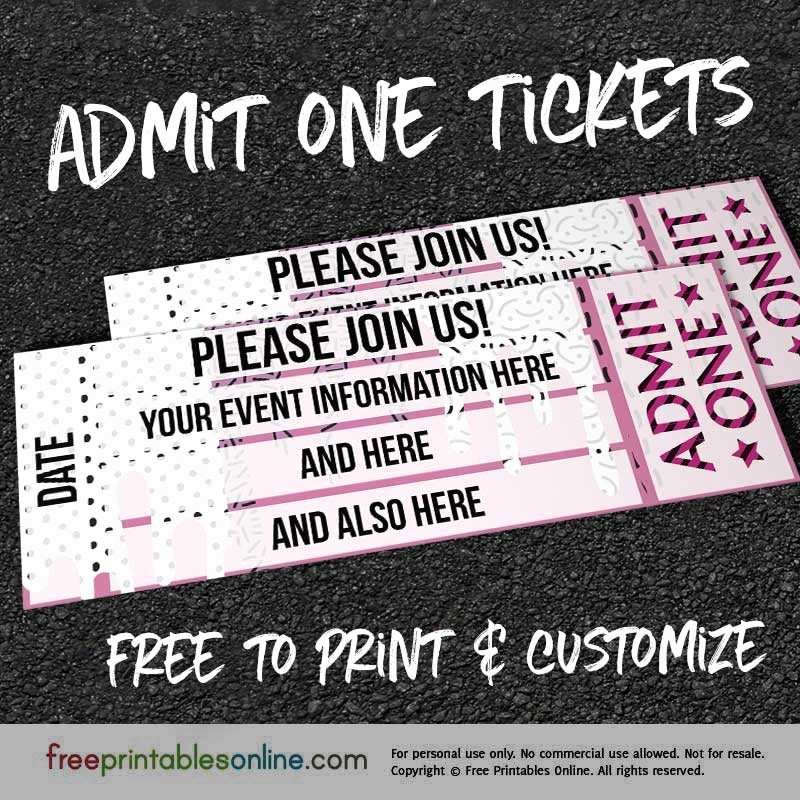 Admit One Ticket Template Printable Best Of Drip Drop Admit E Ticket Template