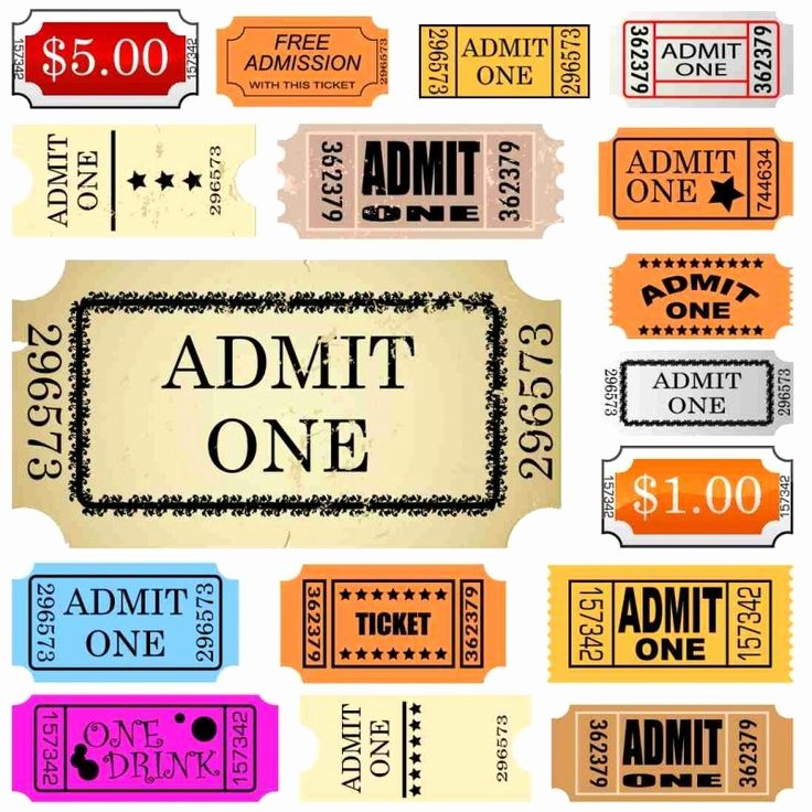 Admit One Ticket Template Printable Elegant Set Of Ticket Admit One Happy Mail