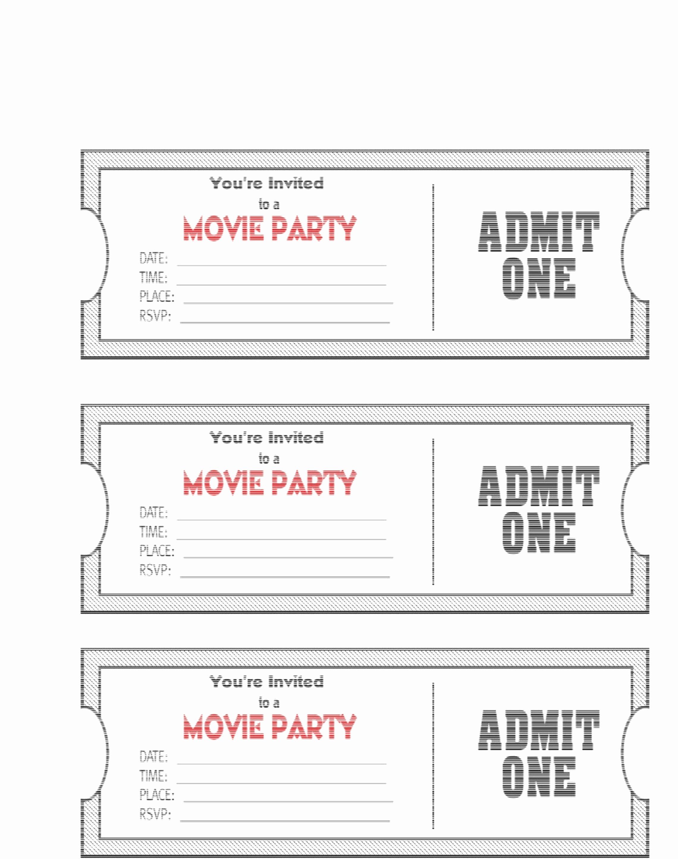 Admit One Ticket Template Printable Inspirational Free Printable Movie Ticket Invitations