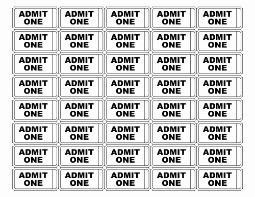 Admit One Ticket Template Printable Lovely Free Printable Admit E Ticket Templates Blank