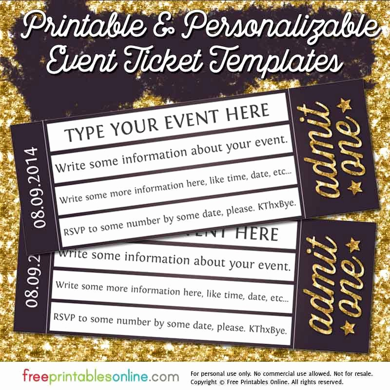 Admit One Ticket Template Printable New Admit E Gold event Ticket Template