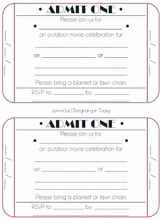 Admit One Ticket Template Printable Unique Admit E Party Invitations Free Birthday Invitation