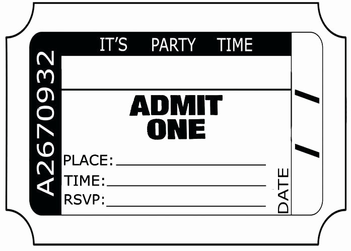 Admit One Ticket Template Printable Unique Free Printable event Ticket Templates Admit E Invitation