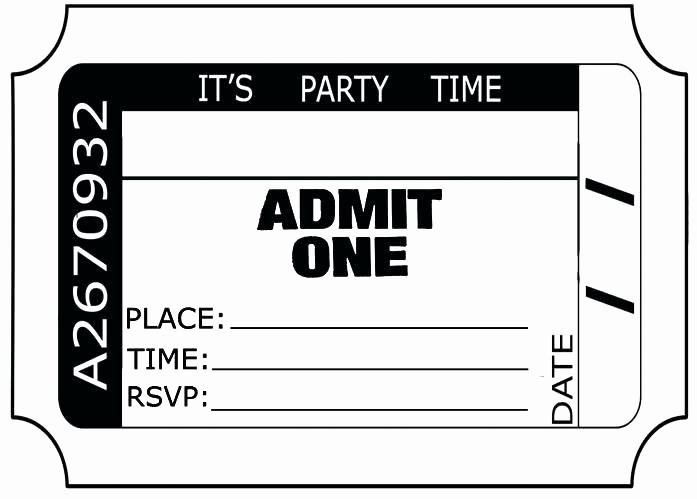 Admit One Ticket Template Printable Unique Free Printable event Ticket Templates Admit E Invitation