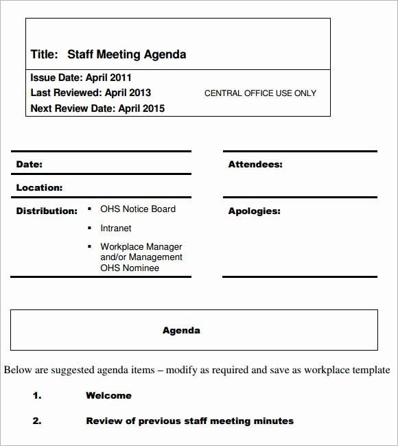 Agenda Example for Staff Meeting Awesome 5 Staff Meeting Agenda Samples