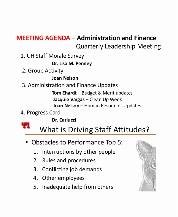 Agenda Example for Staff Meeting Awesome 9 Staff Meeting Agenda Templates – Free Sample Example