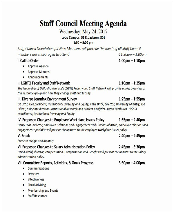 Agenda Example for Staff Meeting Elegant 46 Meeting Agenda Templates