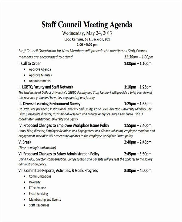 Agenda Example for Staff Meeting Elegant 46 Meeting Agenda Templates