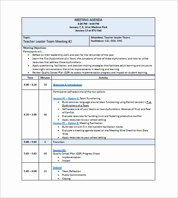 Agenda Example for Staff Meeting Fresh 15 Staff Meeting Minutes Templates Pdf Doc