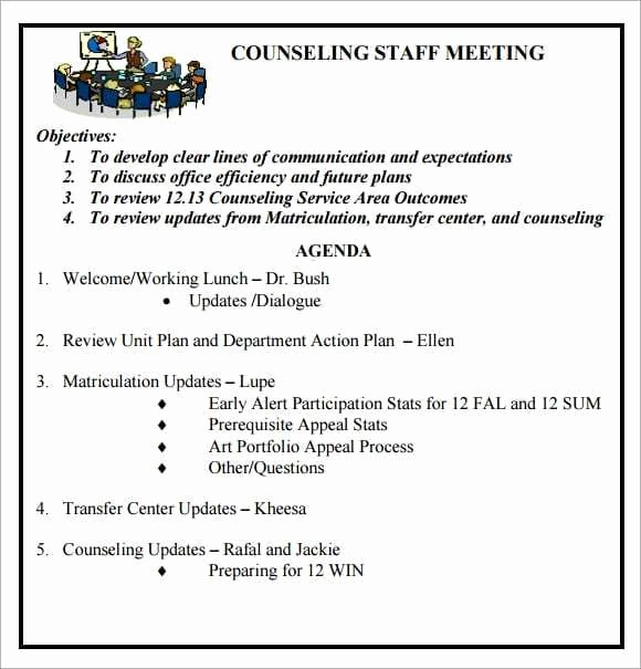 Agenda Example for Staff Meeting Fresh 6 Free Meeting Agenda Templates Excel Pdf formats
