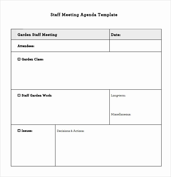 Agenda Example for Staff Meeting Fresh Staff Meeting Agenda – 7 Free Samples Examples format