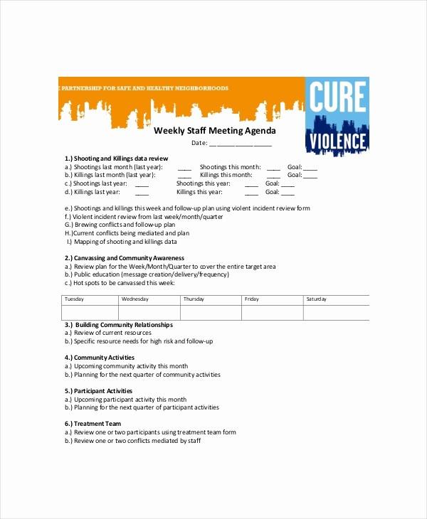 Agenda Example for Staff Meeting Fresh Weekly Meeting Agenda Template – 10 Free Word Pdf