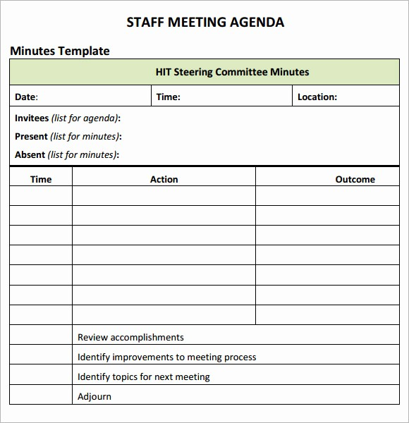 Agenda Example for Staff Meeting Inspirational Staff Meeting Agenda 7 Free Download for Pdf