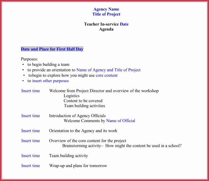 Agenda Example for Staff Meeting New 7 Staff Meeting Agenda Templates Samples In Word & Pdf
