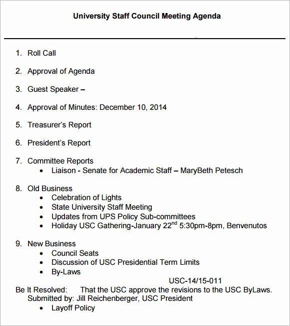 Agenda Example for Staff Meeting New Staff Meeting Agenda 7 Free Download for Pdf