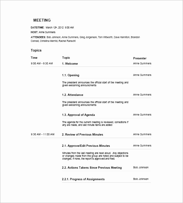 Agenda Example for Staff Meeting Unique 17 Meeting Agenda Templates Free Sample Example
