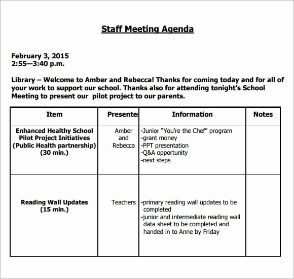 Agenda Example for Staff Meeting Unique 6 Free Meeting Agenda Templates Excel Pdf formats