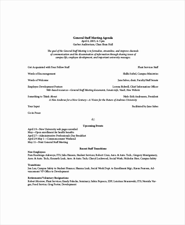 Agenda Example for Staff Meeting Unique Staff Meeting Agenda Template – 10 Free Word Pdf