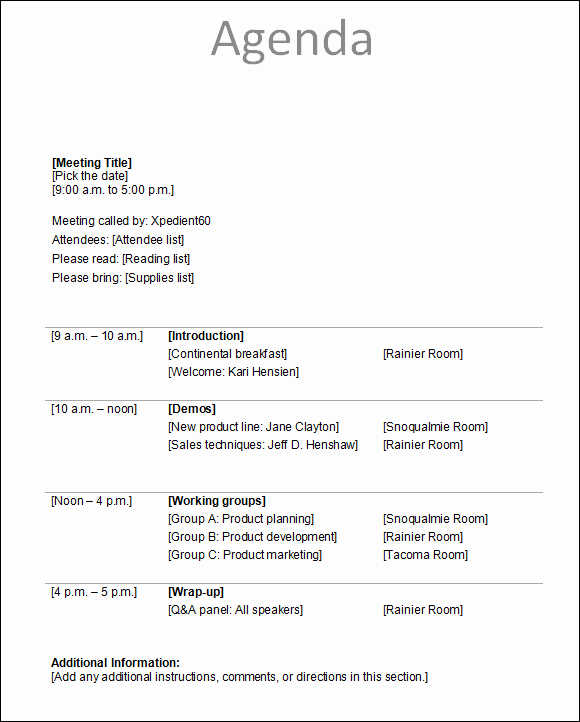 Agenda format for A Meeting Best Of Agenda Template