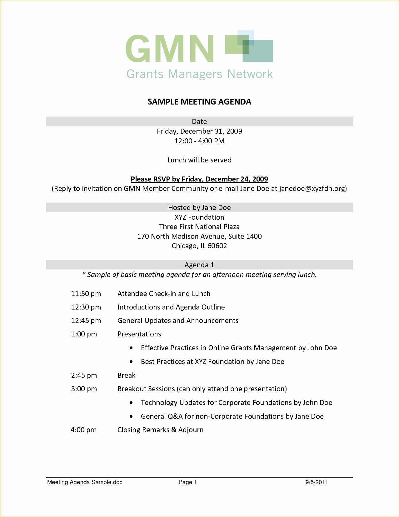 10 sample agenda for meeting