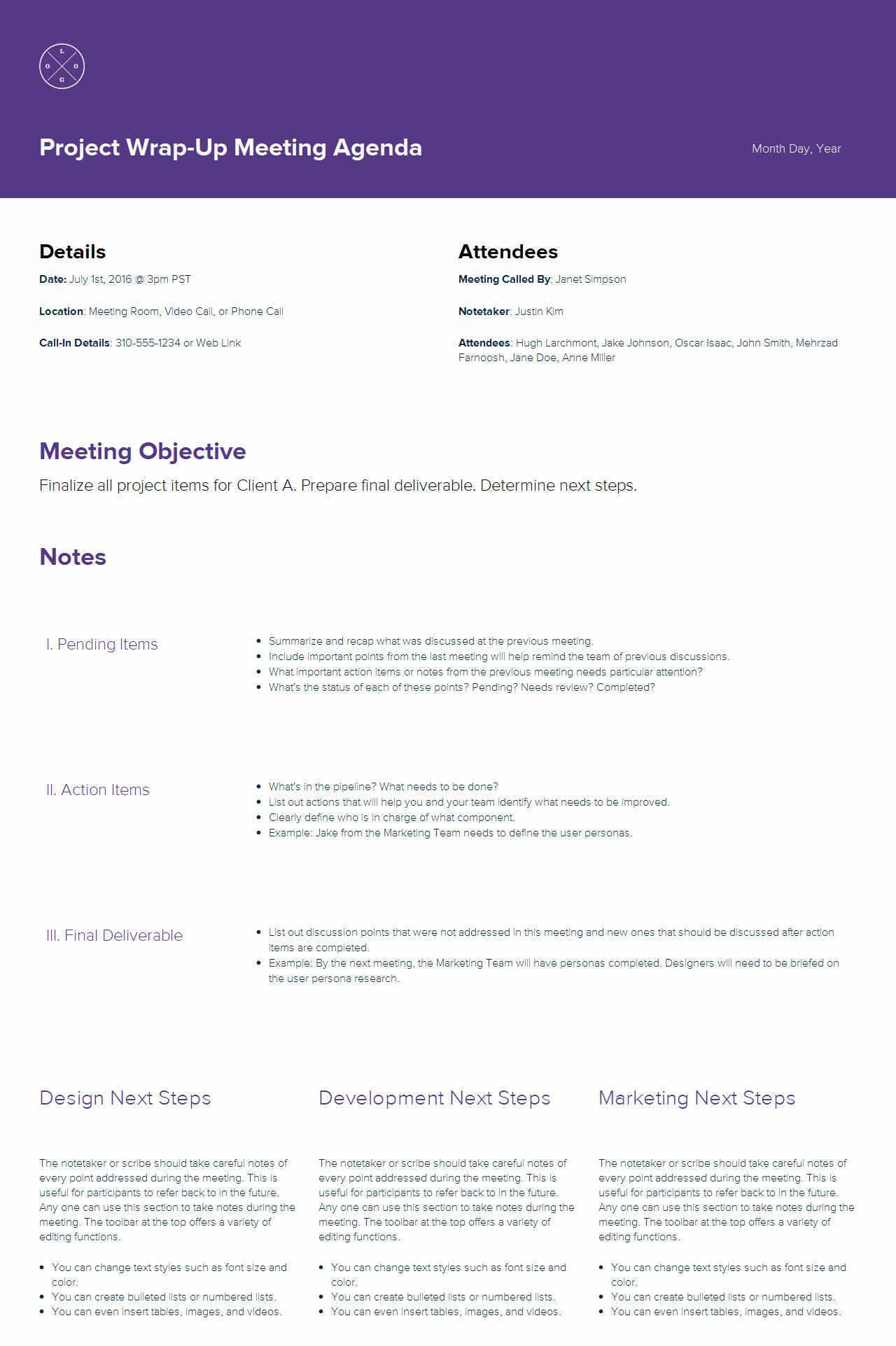 Agenda format for A Meeting Fresh How to Create A Meeting Agenda