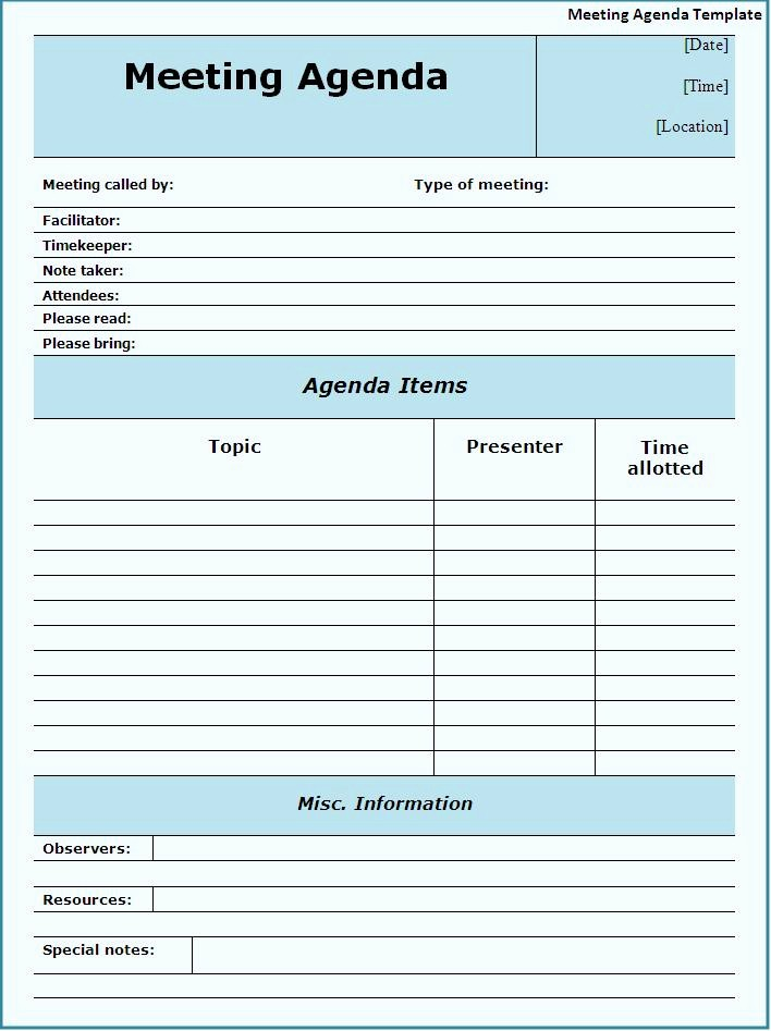Agenda format for A Meeting Inspirational Free Agenda Template