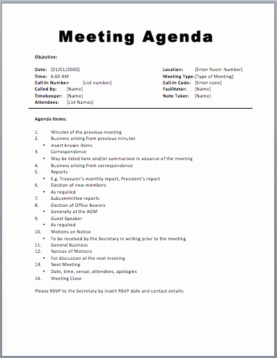 Agenda format for A Meeting Luxury Basic Meeting Agenda Template